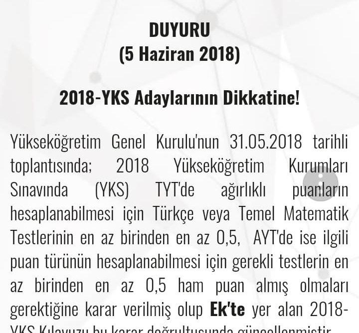 ÖSYM: 2018-YKS Adaylarının Dikkatine!